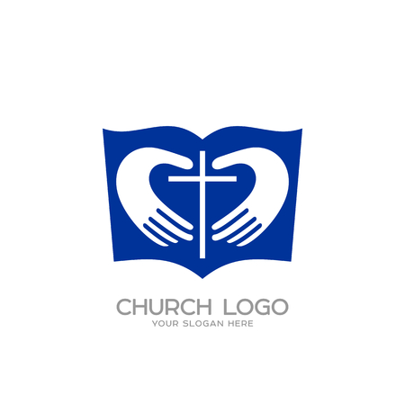 Church Logo Christian Symbols The Cross And The Hands Of Christ