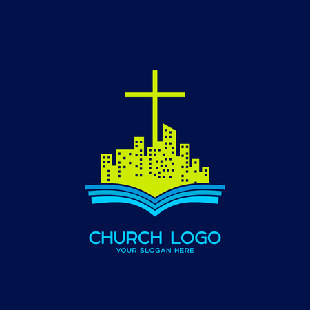 Church logo. Christian symbols. An open bible and a city under the authority of Jesus