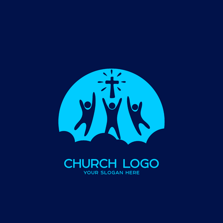worshiped: Church logo. Christian symbols. People worshiped the Lord Jesus Christ