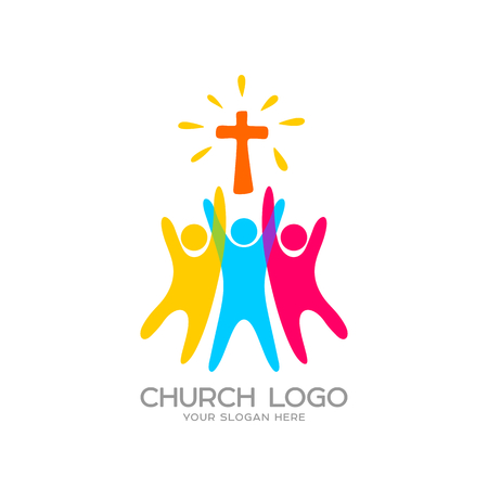 Logotipo de la iglesia. Símbolos cristianos La gente adoraba al Señor Jesucristo Foto de archivo - 81890621