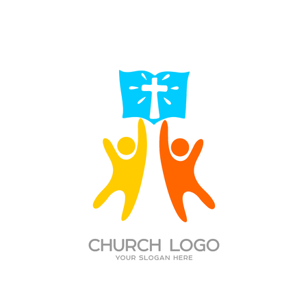 Church logo. Christian symbols. People worshiped the Lord Jesus Christ