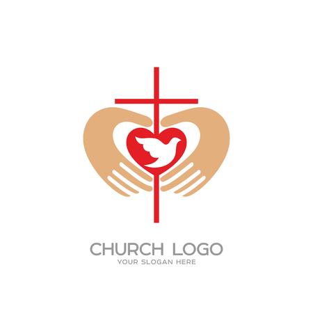 教会のロゴ。キリスト教のシンボル。十字架とキリスト、心と鳩の手