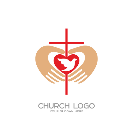 Kerk logo. Christelijke symbolen. Het kruis en de handen van Christus, het hart en de duif