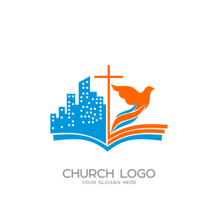 evangelist: Church logo. Christian symbols. The open bible, the cross of Jesus, the city and the dove