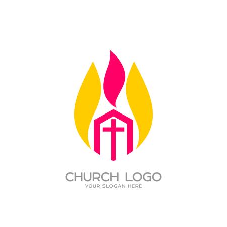 Kerklogo. Christelijke symbolen. De Kerk van Christus en de Vlam van de Heilige Geest Logo
