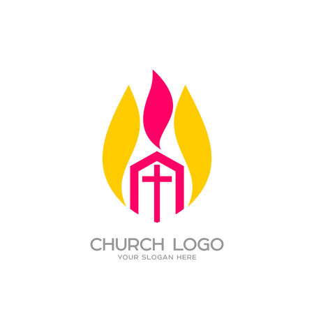 Logo de la iglesia. Símbolos cristianos. La Iglesia de Cristo y la Llama del Espíritu Santo Foto de archivo - 81890628