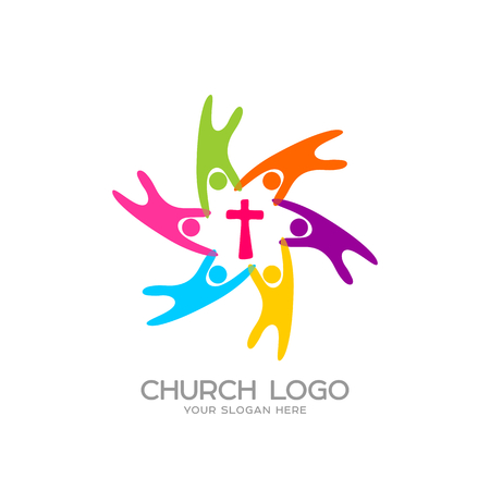 Church logo. Christian symbols. People united by the Savior Jesus