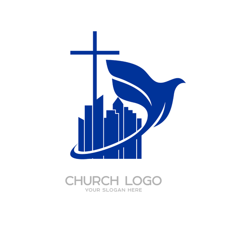 Church logo. Christian symbols. The cross of Jesus Ilustração