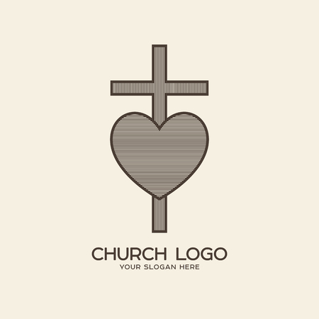 Church logo. Christian symbols. The cross of Jesus and the heart