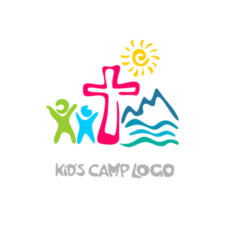 子供のキャンプ ・ ロゴ。キリスト教のシンボル。  イラスト・ベクター素材