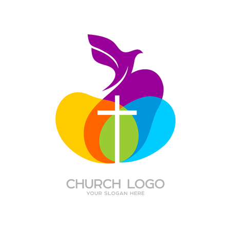 Church logo. Christian symbols. The dove and the cross of Jesus