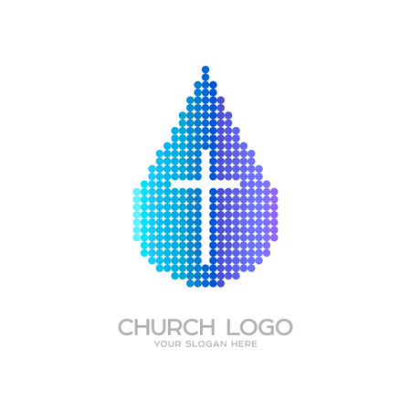 Church logo. Christian symbols. A drop of the living water and the cross of Jesus
