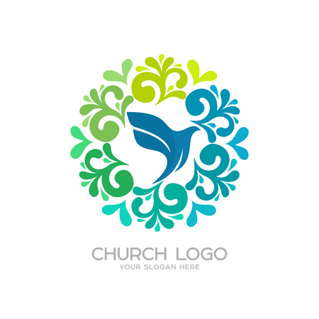 Church logo. Christian symbols. Dove - the symbol of the Holy Spirit Ilustrace
