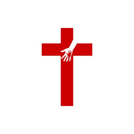 Church logo. Christian symbols. Cross of Jesus and Hands Illustration