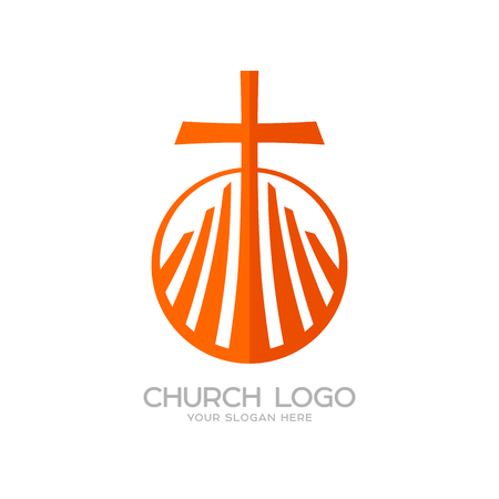 Church logo. Christian symbols. The cross of Jesus and the graphic elements