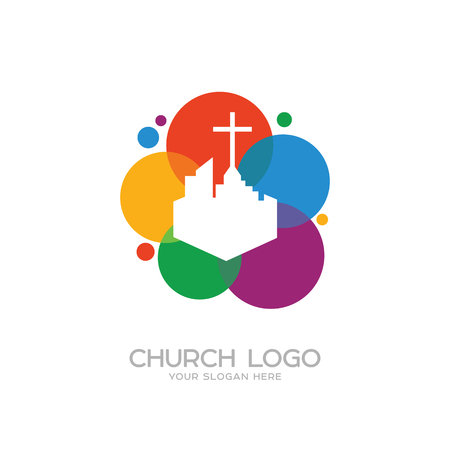 Church logo. Christian symbols. The cross of Jesus and the city