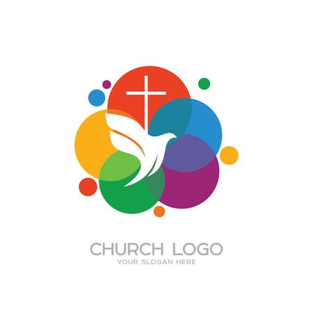 Kerk logo. Christelijke symbolen. Het kruis van Jezus en de duif Logo