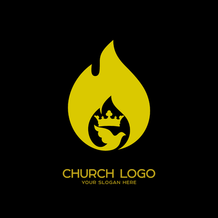 Church logo. Christian symbols. The Flame of the Holy Spirit and the Kingdom of God 矢量图像