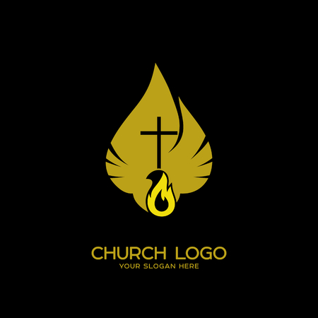 Church logo. Christian symbols. The Dove and the Flame of the Holy Spirit, the Kingdom of God Фото со стока - 83536128