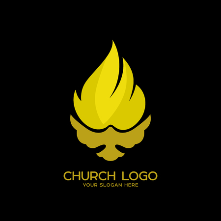 Church logo. Christian symbols. The Dove and the Flame of the Holy Spirit, the Kingdom of God Stock Vector - 83536127