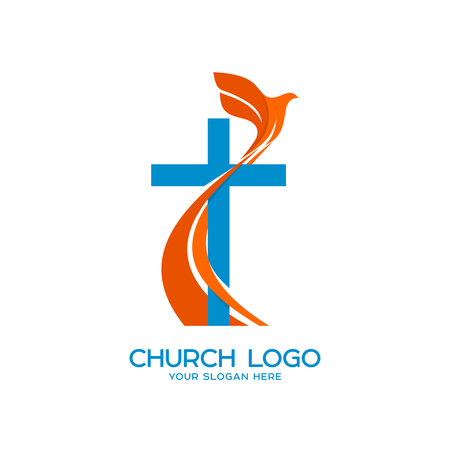 Church logo. Christian symbols. Cross and a flying dove - a symbol of the Holy Spirit 免版税图像 - 83536133