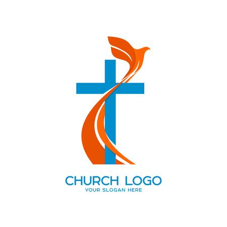 Logo della Chiesa. Simboli cristiani. Croce e una colomba volante - un simbolo dello Spirito Santo