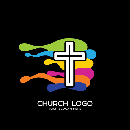 Church logo. Christian symbols. The cross of Jesus and the typical waves