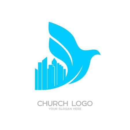 Church logo. Christian symbols. Pigeon over the city