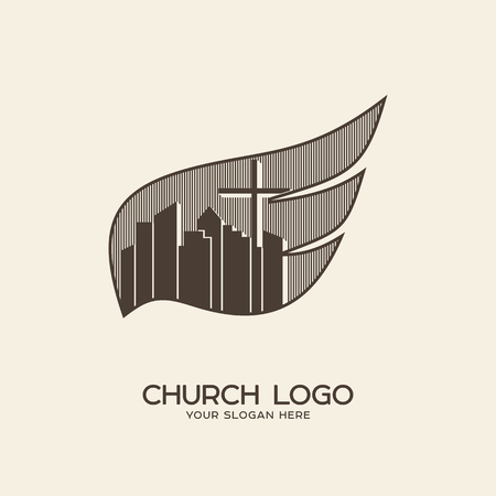 Church logo. Christian symbols. Cross and the city against the backdrop of the wing