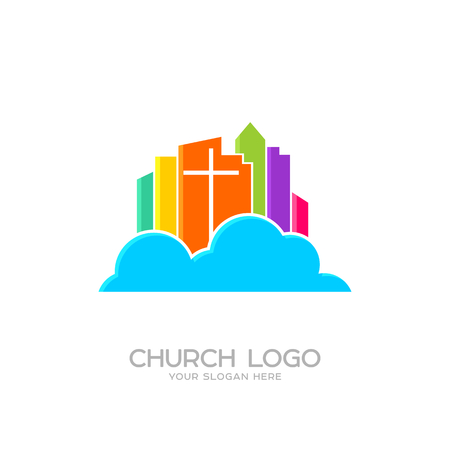 Church logo. Christian symbols. The cross of Jesus and the colored city on the cloud Illustration