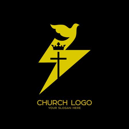Church logo. Christian symbols. Dove - a symbol of the Holy Spirit, the Kingdom of God Vectores