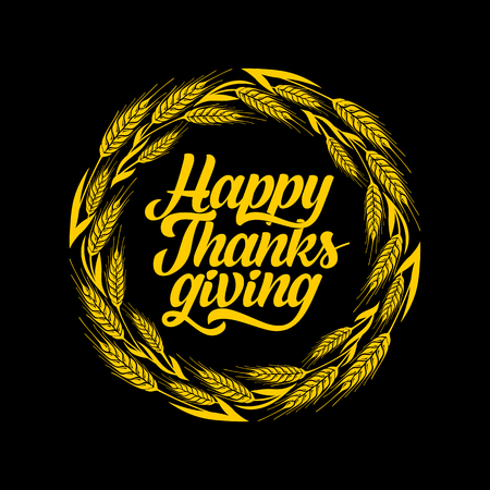 caes: Typography of Thanksgiving. Beautifully decorated holiday text with autumn elements. Vectores