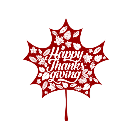 Typography of Thanksgiving. Beautifully decorated holiday text with autumn elements. Illustration
