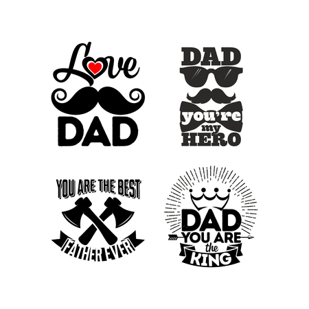 Icon and cards with typography about the dad. Happy Fathers Day