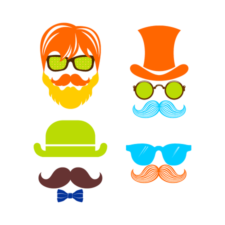 Beautiful elements for cards with a beard, mustaches, hats and sunglasses