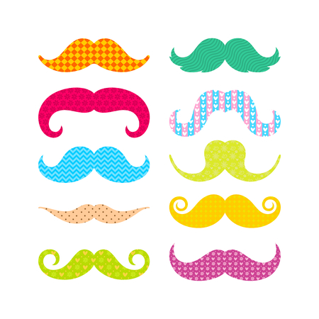 Beautiful colored mustache with different patterns Illustration