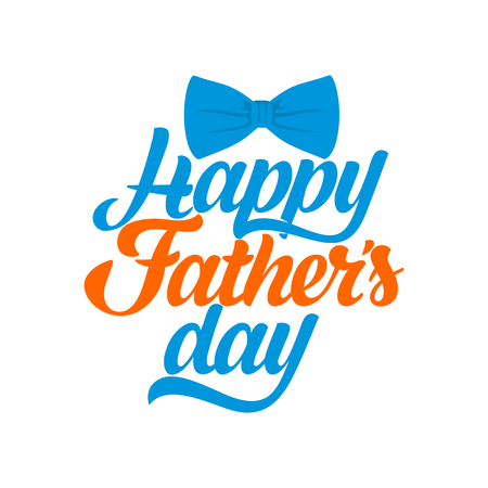 Typography and lettering with designer colored elements and silhouettes for a happy fathers day