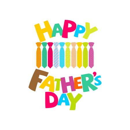 Typography and lettering with designer colored elements and silhouettes for a happy father's day Illustration