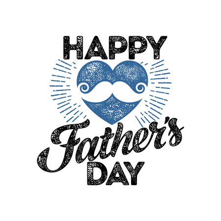 Typography and lettering with design elements and silhouettes for a happy father's day