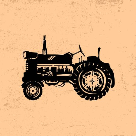 Silhouette of a vintage tractor Illustration