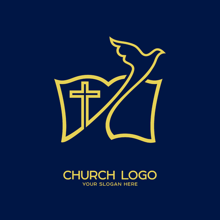 Church logo. Christian symbols. Pigeon, cross and bible Çizim
