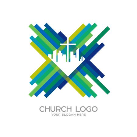 Kirchenlogo. Christliche Symbole. Stadt, das Kreuz Jesu Christi Logo