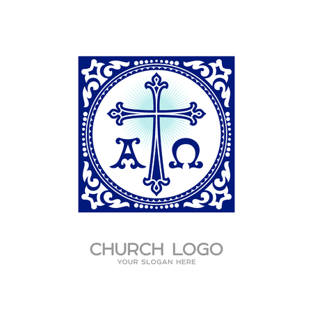 Church logo. Christian symbols. Cross of Jesus, symbols - alpha and omega