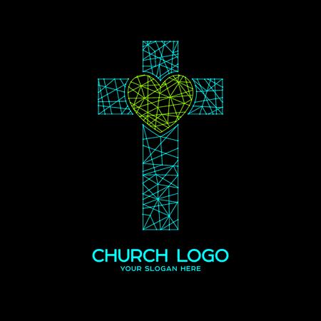 Church logo. Christian symbols. Cross of Jesus and heart, mosaic