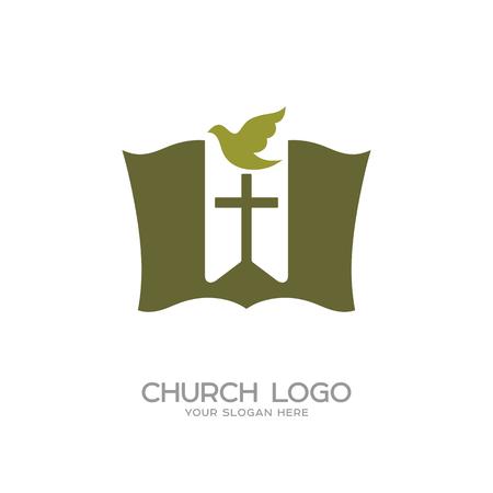 Church logo. Christian symbols. The Bible, the bookmark-cross and dove Zdjęcie Seryjne - 89111820