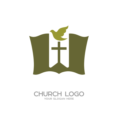 Church logo. Christian symbols. The Bible, the bookmark-cross and dove