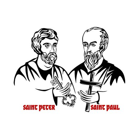 The Saints Apostles Peter and Paul. Stock Illustratie