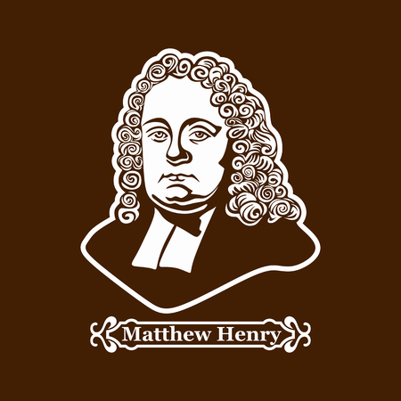 Matthew Henry. Protestantisme. Leiders van de Europese Reformatie. Stock Illustratie