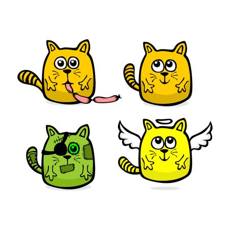 Hand drawn funny cats Ilustração