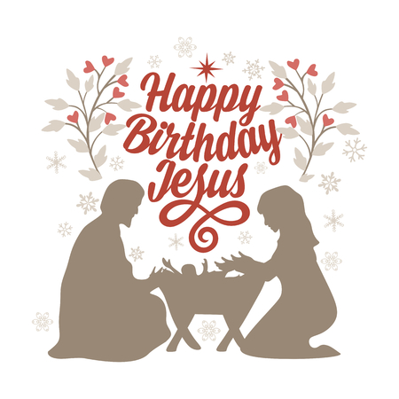 Bible lettering. Christmas art. Happy birthday Jesus.